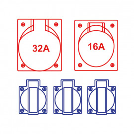 Gummi CEE-Steckdosen- verteilung, SALZBURG IP54 14  - PCE