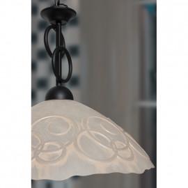 Pendelleuchte, Wohnraumleuchten 1 x E27 / 60W Schmiedeeisen schwarz Reliefglas
