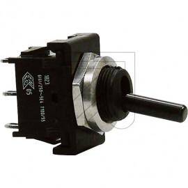 Mini Kipp Schalter 2230V / 6(4A), Lötanschluß 1 polig Um schwarz mit Zentralbefestigung M12