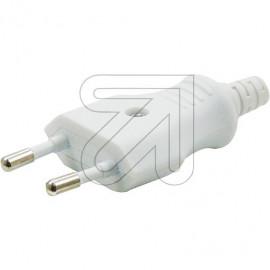 Europa Stecker weiß mit Zugentlastung, für Leitung H05VV-F 2x0,75mm²