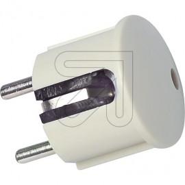Winkel Stecker weiß Thermoplast schlagfest mit Zugentlastung, 250V / 16A, VDE