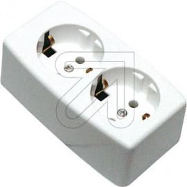 Tischsteckdose ohne Anschlußleitung 2 fach weiß Thermoplast, absolut bruchfest