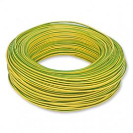 10 Meter Aderleitung, 1,5²mm H07V-U, grün-gelb, inkl. CU ( Meterware )