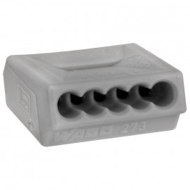 100 Stück Steckklemme, 5-polig, für Leiter bis 1,5², grau - Wago