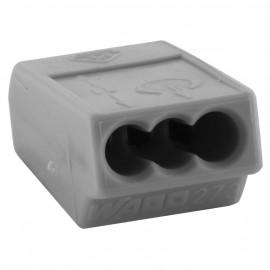 10 Stück Steckklemme, 3-polig, für Leiter bis 1,5², grau - Wago
