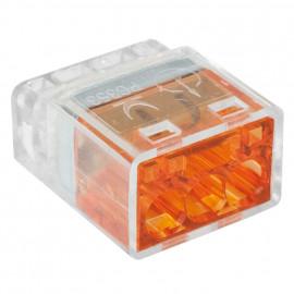 10 Stück Steckklemme, 3-polig, für Leiter von 1,0² bis 2,5², transparent - Klein