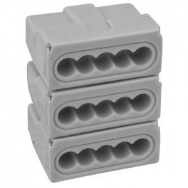 100 Stück Steckklemme, 3 x 5-polig, für Leiter von 0,5² bis 4²mm, grau