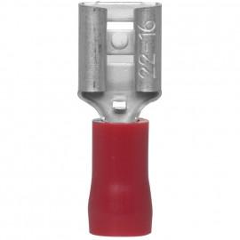 100 Stück Flachsteckhülse, für Kabel-Ø 0,5 - 1,5²mm  Anschluss 6,3 x 0,8 mm Rot