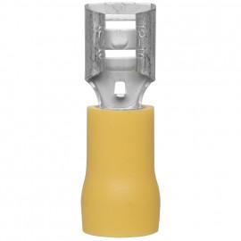 100 Stück Flachsteckhülse, für Kabel-Ø 4 - 6²mm  Anschluss 6,3 x 0,8 mm Gelb