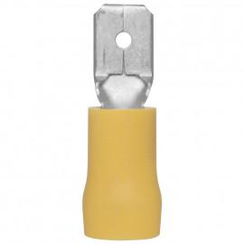 100 Stück Flachstecker, für Kabel Ø 4 - 6²mm  Anschluss 6,3 x 0,8 mm Gelb