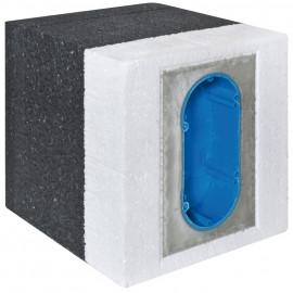 Dämmblock, Gerätedose, 2-fach, 100 - 140 mm - F-tronic