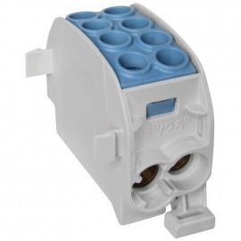 Unterverteiler Abzweigklemme, 1-polig, 2 Eingänge 35 mm² und 2 Ausgänge 25 mm² blau