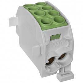 Unterverteiler Abzweigklemme, 1-polig, 2 Eingänge 35 mm² und 2 Ausgänge 25 mm² grün