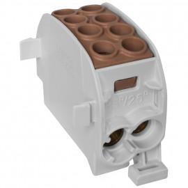 Unterverteiler Abzweigklemme, 1-polig, 2 Eingänge 35 mm² und 2 Ausgänge 25 mm² braun