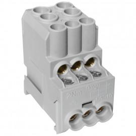 Unterverteiler Abzweigklemme, 1-polig, 2 Eingänge 25 mm² und 6 Ausgänge 6 mm² grau