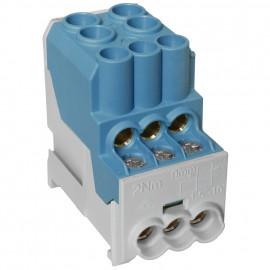 Unterverteiler Abzweigklemme, 1-polig, 2 Eingänge 25 mm² und 6 Ausgänge 6 mm² blau