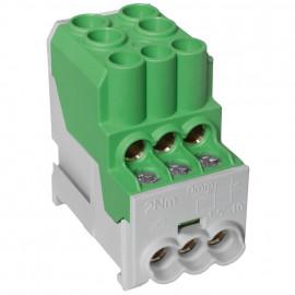 Unterverteiler Abzweigklemme, 1-polig, 2 Eingänge 25 mm² und 6 Ausgänge 6 mm² grün