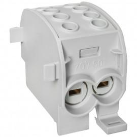 Hauptleitungs Abzweigklemme, 1-polig, 2 Eingänge 70 mm² und 2 Ausgänge 50 mm² grau