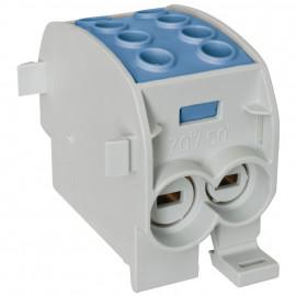 Hauptleitungs Abzweigklemme, 1-polig, 2 Eingänge 70 mm² und 2 Ausgänge 50 mm² blau