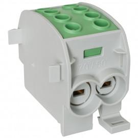 Hauptleitungs Abzweigklemme, 1-polig, 2 Eingänge 70 mm² und 2 Ausgänge 50 mm² grün