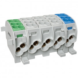 Hauptleitungs Abzweigklemme, je Block 2 Eingänge 25 mm² und 2 Ausgänge 16 mm² grün/grau/blau