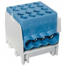 Hauptleitungs Abzweigklemme 1 p.2 Eingänge 25 mm² und 6 Ausgänge 16 mm² blau verzinnt