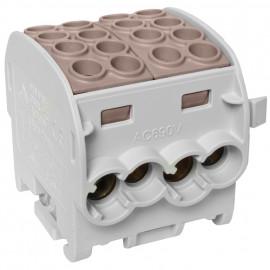 Hauptleitungs  Abzweigklemme, DOPPELBLOCK, 4 Eing. 35 mm²  4 Ausg. 25 mm² braun
