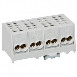 Hauptleitungs Abzweigklemme grau Block 2 Eingänge 25 mm² - 2 Ausgänge 16 mm², 4-polig