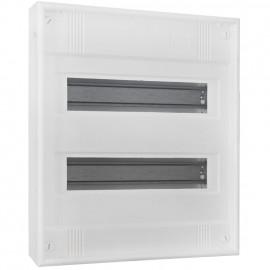 Kleinverteiler, 2-reihig, AP, Höhe 375 mm, 24 + 4 weiß ohne Tür - F-tronic