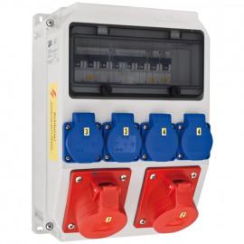 CEE Steckdosenverteilung, ANIF IP44 10 Module bestückt und verdrahtet  - PCE