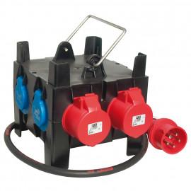 Mobil CEE Steckdosen Kunststoffgehäuse verteilung mit Tragegriff H07 RN-F 5 x 2,5²mm
