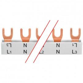 Gabel-Phasenschiene, 16 mm², 4-polig, L-Form, für 6 2-pol. Schalter+N, L1+N-L2+N-L3+N.