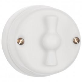 Drehschalter Porzellan  für 2 Zuleitung Butterfly Taster mit  Drehknopf weiß Atlantis  weiß