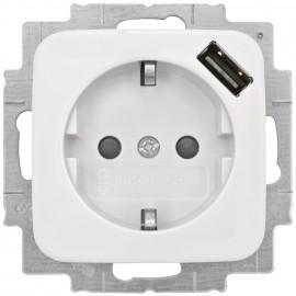 Steckdose Kombi, mit Kinderschutz und USB-Steckdose, REFLEX SI alpinweiß