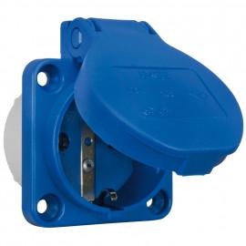 Einbausteckdose mit Klappdeckel, 16A, blau, PCE