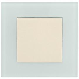 Schalter Komplett Aus / Wechsel mit Glasrahmen, weiß / mint, KLEIN® K55