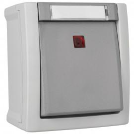 Schalter Kontroll / Aus, Aufputz, Feuchtraum, IP54, grau/dunkelgrau, Viko