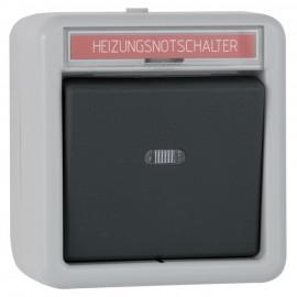 Schalterprogramm Aufputz / FR Heizungsnotschalter, grau / dunkelgrau, IP44