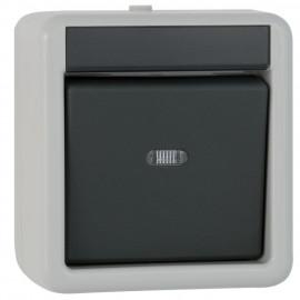 Schalterprogramm Aufputz / FR Taster, Wechsler Schalter, grau / dunkelgrau, IP44 Gira