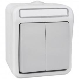 Schalter Serien, Feuchtraum, Aufputz, grau / hellgrau, IP54, PERANOVA