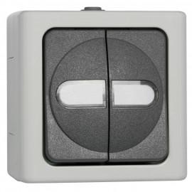 Schalter Serien, Aufputz, Feuchtraum, grau - hellgrau, IP44, Kopp Blue Electric