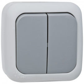 Schalter Serien, Aufputz, Feuchtraum, IP54, grau / dunkelgrau, Viko