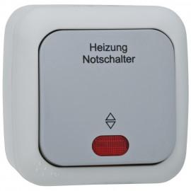 Schalter Heizungs Not, Aufputz, Feuchtraum, IP54, grau / dunkelgrau, Viko