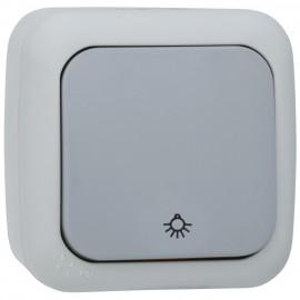 Taster, mit Symbol 'Licht', Aufputz, Feuchtraum, IP54, grau / dunkelgrau, Viko