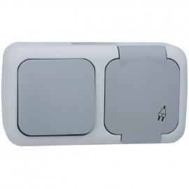 Wechsel Schalter / Steckdose Kombi, waagerecht, Aufputz, Feuchtraum, IP54, grau/dunkelgrau