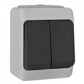Schalter Serien, Aufputz, Feuchtraum, IP44, NORTIC grau / anthrazit, Pollmann