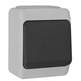 Schalter Aus / Wechsel, Aufputz, Feuchtraum, IP44, NORTIC grau / anthrazit, Pollmann