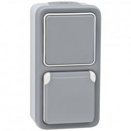 Kombi Wechsel - Schalter / Steckdose, senkrecht, Aufputz, Feuchtraum, IP55, grau, LEGRAND PLEXO