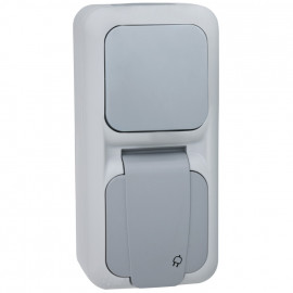 Wechsel Schalter / Steckdose Kombi, senkrecht, Aufputz, Feuchtraum, IP54, grau/dunkelgrau