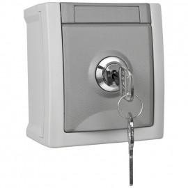 Steckdose, 1 fach, Aufputz grau / dunkelgrau Feuchtraum, abschließbar, Schließung 4, IP54